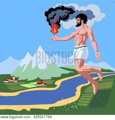 Flying Prometheus With Fire In His Hand, A Character From The Myths Of Ancient Greece, A Rural Lands