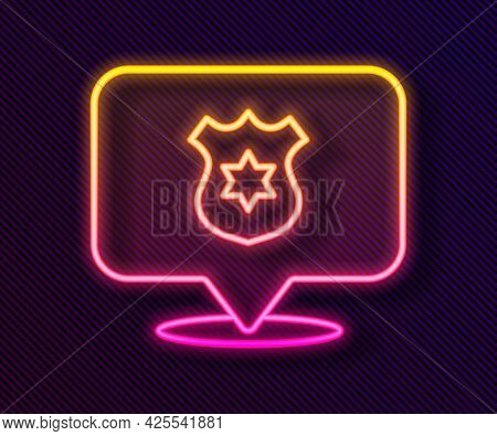 Glowing Neon Line Police Badge Icon Isolated On Black Background. Sheriff Badge Sign. Vector
