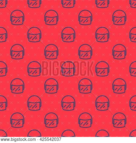 Blue Line Police Helmet Icon Isolated Seamless Pattern On Red Background. Military Helmet. Vector