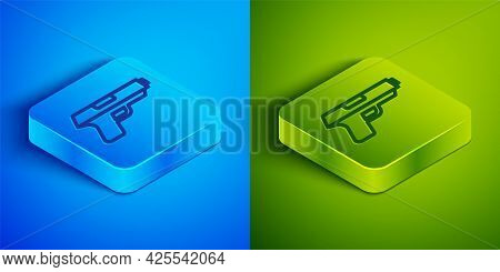 Isometric Line Pistol Or Gun Icon Isolated On Blue And Green Background. Police Or Military Handgun.