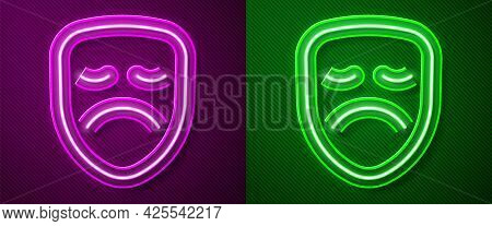 Glowing Neon Line Drama Theatrical Mask Icon Isolated On Purple And Green Background. Vector