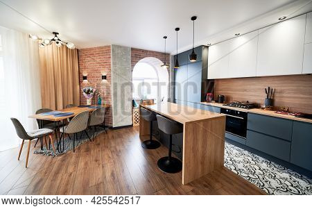 Loft Style Interior Design Studio Apartment In Gray And Beige Colors With Wood Elements. Clearly And