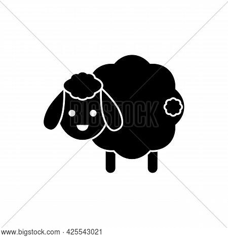 Cute Sheep With Tail. Vector Drawing. Lamb Black And White Silhouette On White Background.