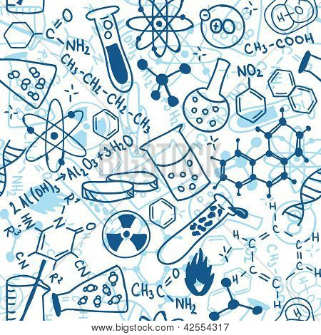 Seamless pattern background - illustration of science drawings doodle style poster