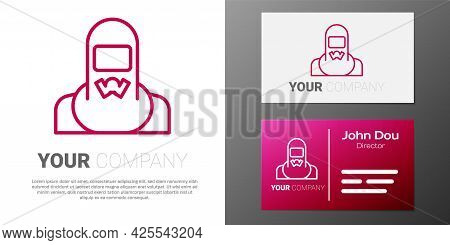 Logotype Line Nuclear Power Plant Worker Wearing Protective Clothing Icon Isolated On White Backgrou