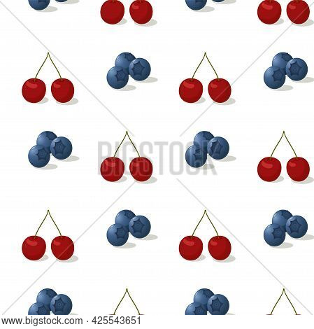 Berries Seamless Pattern Isolated On White. Mix Of Garden Or Forest Berries Endless Background. Blue