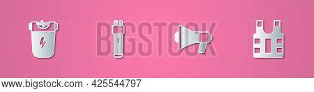 Set Paper Cut Police Electric Shocker, , Megaphone And Bulletproof Vest Icon. Paper Art Style. Vecto