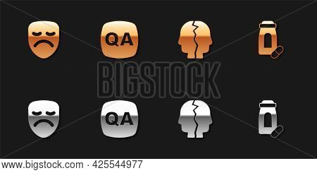 Set Drama Theatrical Mask, Question And Answer, Bipolar Disorder And Sedative Pills Icon. Vector