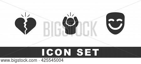Set Broken Heart Or Divorce, Anger And Comedy Theatrical Mask Icon. Vector