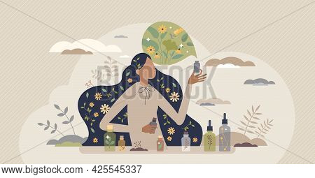 Aromatherapy Scent Procedure With Healthy Essential Oils Tiny Person Concept. Smelling Floral Fragra