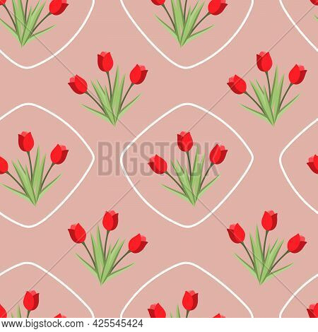 Bright Seamless Pattern With Bouquets Of Red Tulip Flowers And Rhombuses Arranged In A Row On A Pale
