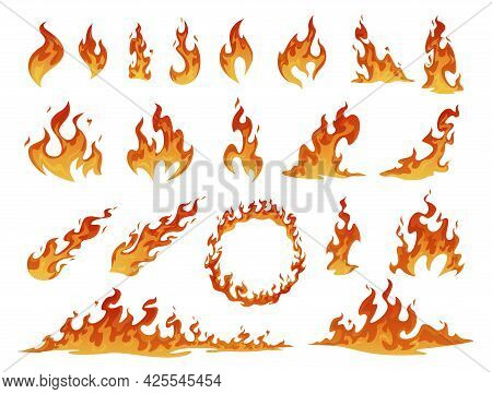 Collection Of Red And Orange Cartoon Fire Flame Vector. Flammable Fireball, Circle, Inferno Light