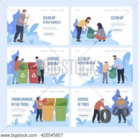 Collection Of Webpage Banners With People Collecting And Sorting Garbage Vector Flat Illustration