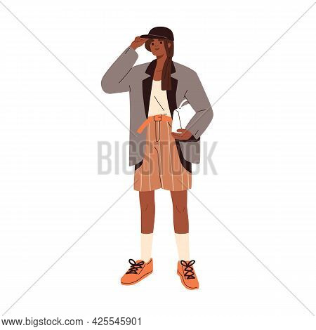 Modern Woman Wearing Fashion Clothes. Stylish Casual Summer Look. Female In Trendy Shorts, Loose Bla