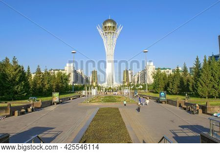 Nur-sultan - Kazakhstan: June 10, 2021: Pedestrian Zone In The Business And Administrative Center Of