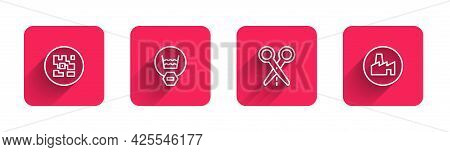 Set Line Qr Code, Delicate Wash, Scissors With Cut Line And Factory Production With Long Shadow. Red
