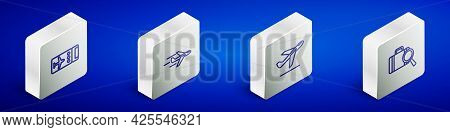 Set Isometric Line Airline Ticket, Plane, Takeoff And Lost Baggage Icon. Vector