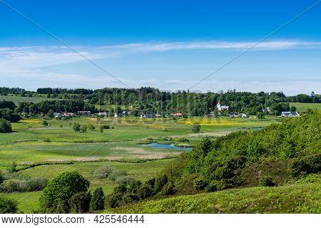 Idyllic Gravlev Village And Meandering River Landscape In Nothern Denmark