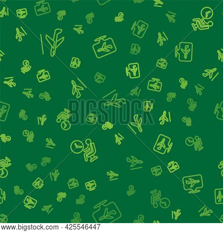 Set Line Plane Landing, Human Waiting Airport Terminal And On Seamless Pattern. Vector