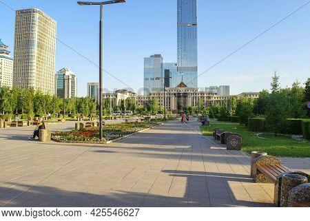 Nur-sultan - Kazakhstan: June 10, 2021: Center Of Nur-sultan, View Of Abu Dhabi Plaza, Ministry Of D