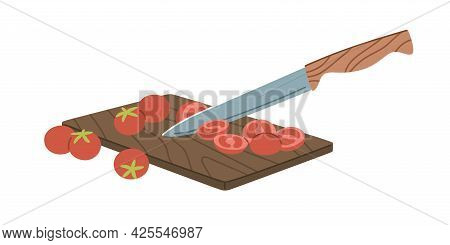Cutting Cherry Tomatoes Into Pieces With Sharp Kitchen Knife On Wooden Board. Process Of Preparing S