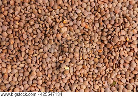 Organic Dry Brown Lentils For A Healthy Diet. Background Texture