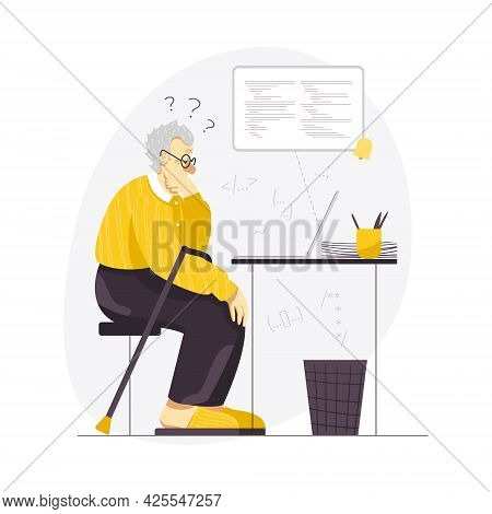 Vector Illustration Of An Elderly Male Coder Working On A Laptop From Home. A Senior Man Working On