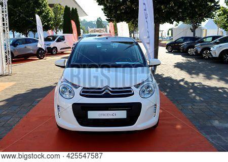Torres Vedras, Portugal - June 2021:new Citroen Car, Model C1  At The Car Fair.
