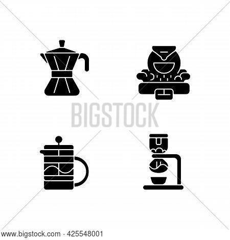 Coffee Making Appliance Black Glyph Icons Set On White Space. Moka Pot. Professional Commercial Roas
