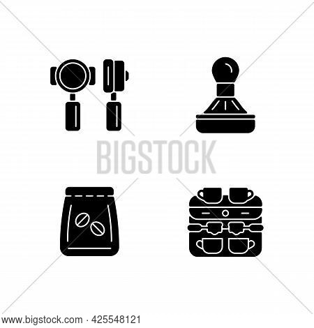 Coffee Shop Professional Tools Black Glyph Icons Set On White Space. Professional Portafilter And Ta