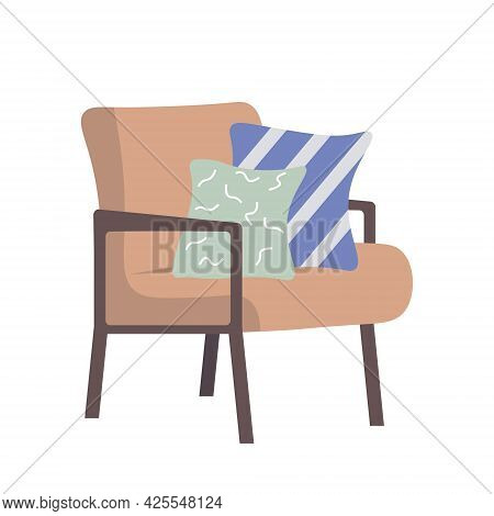 Upholstered Furniture For The Room. Trendy Armchair With Cushions. Retro Style Furniture. Comfortabl