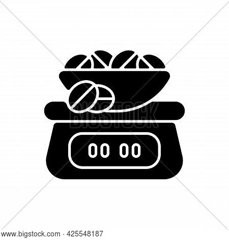 Coffee Scale Black Glyph Icon. Appliance For Measuring Beans Weight. Weighing Roasted Seeds For Espr