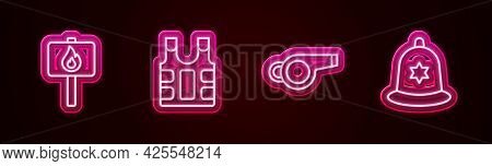 Set Line Protest, Bulletproof Vest, Whistle And British Police Helmet. Glowing Neon Icon. Vector