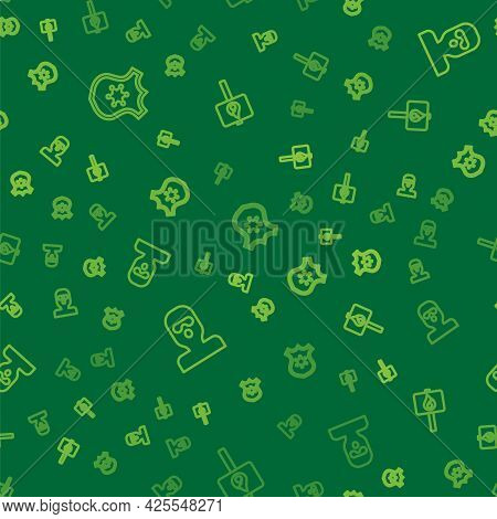 Set Line Police Badge, Thief Mask And Protest On Seamless Pattern. Vector
