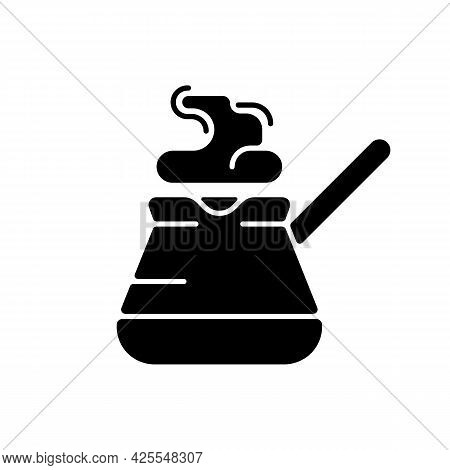 Turkish Coffee Pot Black Glyph Icon. Cezve For Brewing Fresh Espresso At Home. Kitchen Utensils For