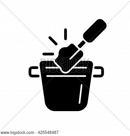 Coffee Knock Box Black Glyph Icon. Container For Dumping Processed Ground. Trash Can For Coffee Shop