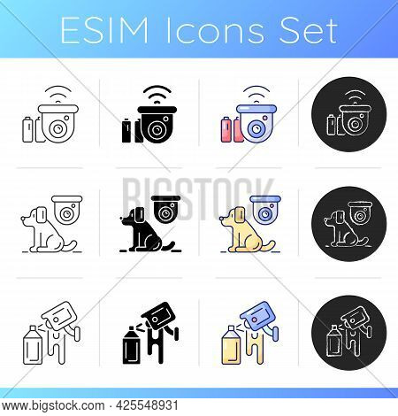 Surveillance System Icons Set. Wireless Outdoor Security Camera. Monitoring Cats, Dogs Safety. Avoid