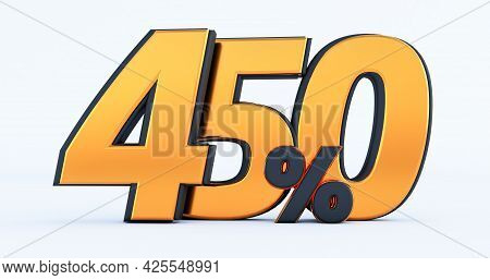 Four Hundred Fifty450 % Off On Sale. Gold Percent Isolated On White Background. 3d Render Of A Gold