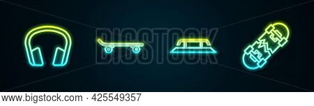 Set Line Headphones, Skateboard, Stairs With Rail And Broken Skateboard. Glowing Neon Icon. Vector