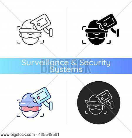 Criminal Detection With Surveillance Camera Icon. Crime-prevention Measure. Facial Recognition. Incr