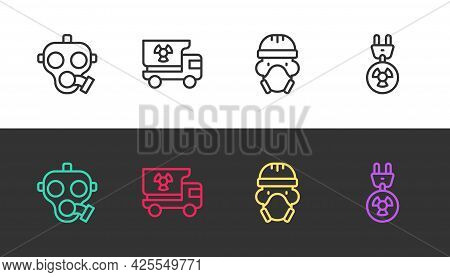 Set Line Gas Mask, Truck With Radiation Materials, Nuclear Reactor Worker And Radiation Electrical P