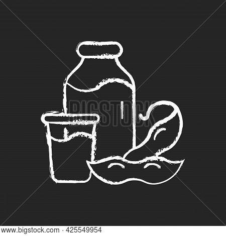 Soy Milk Chalk White Icon On Dark Background. Plant Based Milk. Grinding Beans. Vegeterian Drinks Ty
