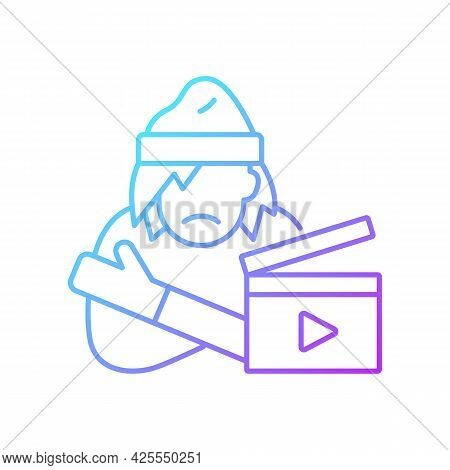 Social Videos Gradient Linear Vector Icon. Cinematography For Public Awareness Campaign. Videography