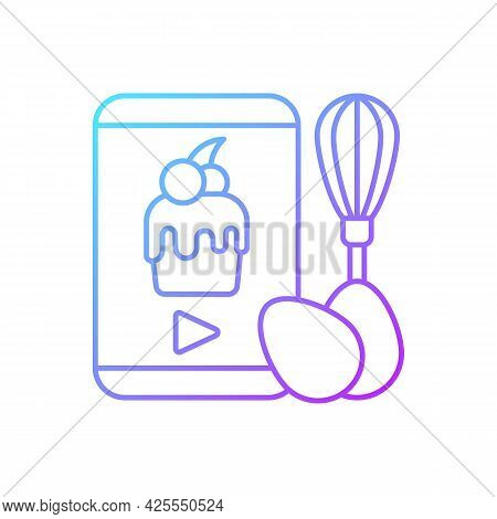 Cooking Video Gradient Linear Vector Icon. Culinary Courses Online. Cookery School For Learning Remo