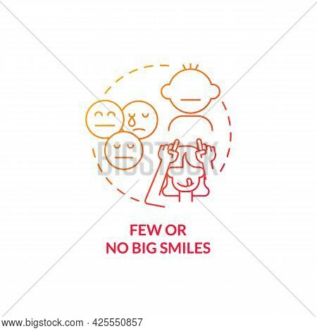 Few And No Big Smiles Concept Icon. Autism Sign In Children Abstract Idea Thin Line Illustration. Be