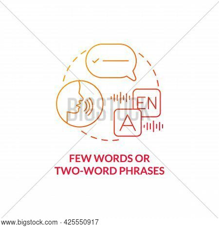Few Words And Two-word Phrases Concept Icon. Autism Sign Abstract Idea Thin Line Illustration. Troub
