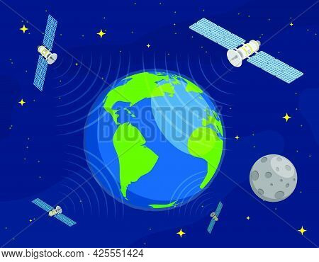 Satellites Fly In Orbit Around Planet Earth In Space And Transmit Communication Signal. Satellite Co