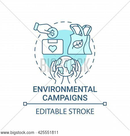 Environmental Campaigns Concept Icon. Fundraising Abstract Idea Thin Line Illustration. Eco-friendly