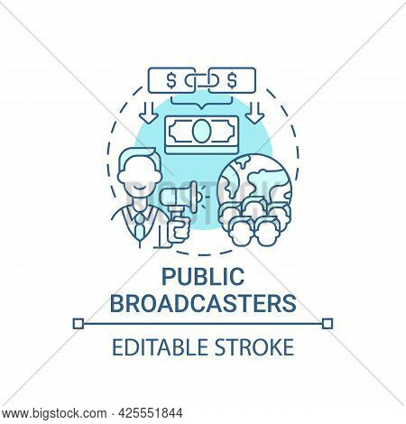 Public Broadcasters Fundraiser Concept Icon. Fundraising Abstract Idea Thin Line Illustration. Incre
