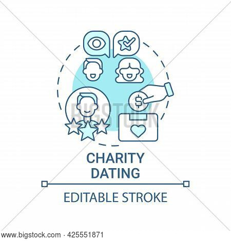 Charity Dating Concept Icon. Fundraising Kind Abstract Idea Thin Line Illustration. Helping Charitab